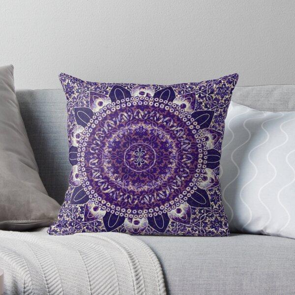 Royal Purple Mandala Throw Pillow
