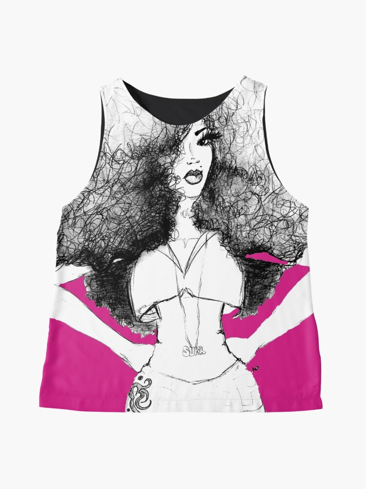 Alternate view of Super Natural Afro Long Hair Queen Sleeveless Top
