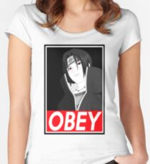 Itachi Obey Logo Women's Fitted Scoop T-Shirt