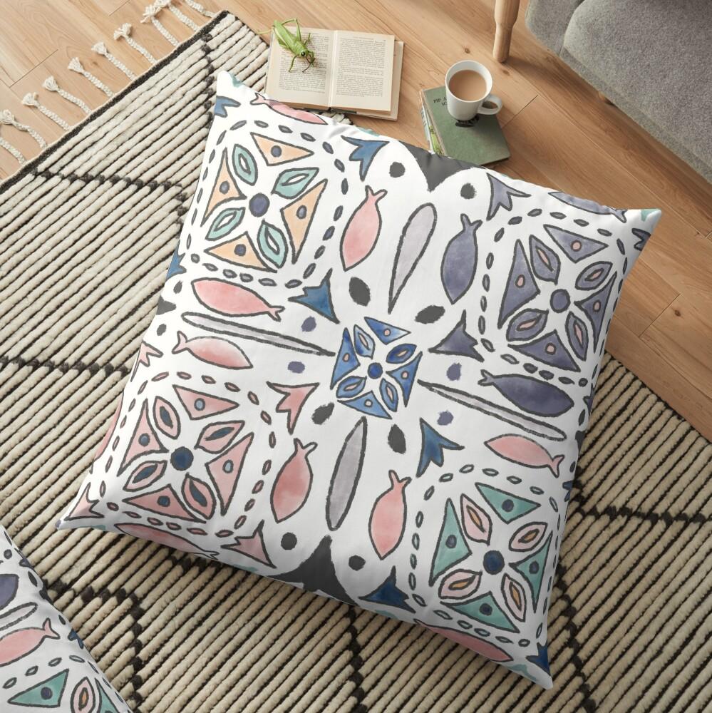 Mediterranean Tiles Floor Pillow