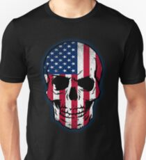 Vintage USA Flag Skull Design Unisex T-Shirt