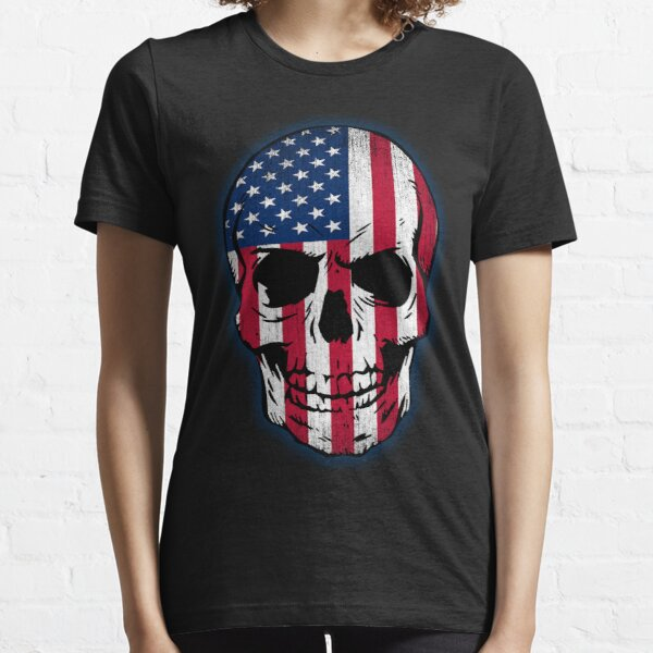 Vintage USA Flag Skull Design Essential T-Shirt