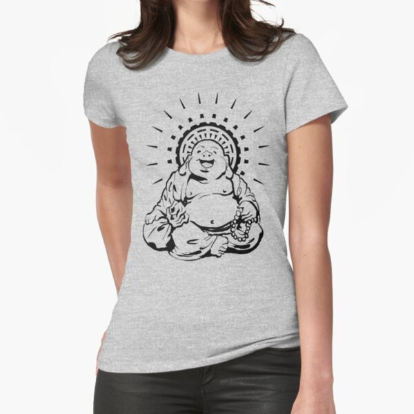 Sunburst Happy Buddha Fitted T-Shirt