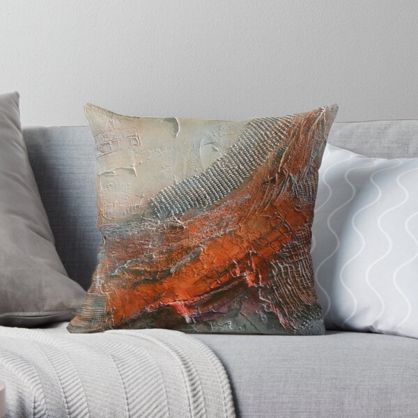 Abstract Rust Grey Art Print  Throw Pillow