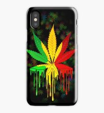 Marijuana Leaf Rasta Colors Dripping Paint iPhone Case