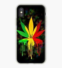 Vinilo o funda para iPhone Marijuana Leaf Rasta Colors Dripping Paint