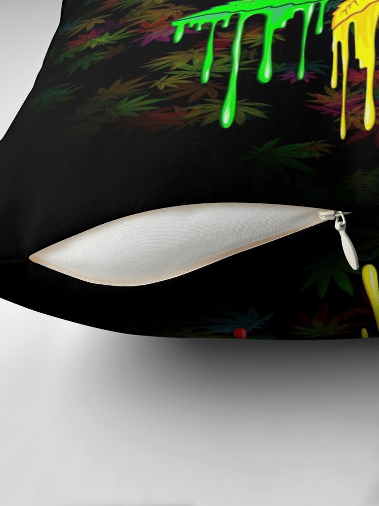 Alternate view of Marijuana Leaf Rasta Colors Dripping Paint Throw Pillow