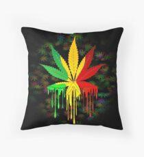 Marijuana Leaf Rasta Colors Dripping Paint Throw Pillow