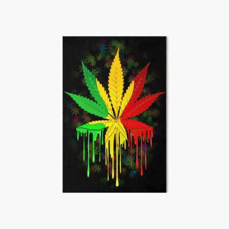 Marijuana Leaf Rasta Colors Dripping Paint Art Board Print