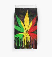 Marijuana Leaf Rasta Colors Dripping Paint Duvet Cover
