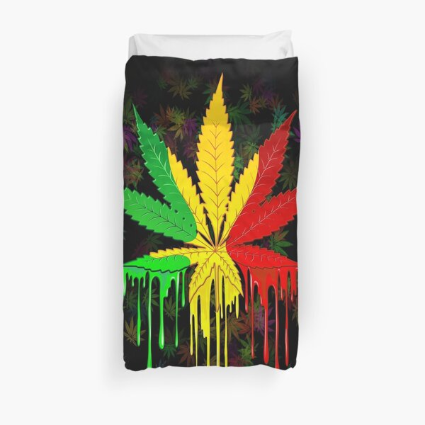 Marijuana Leaf Rasta Colors Dripping Paint Duvet Cover