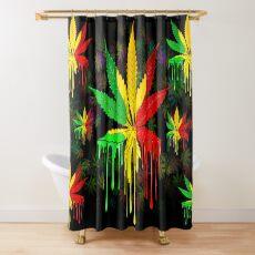 Marijuana Leaf Rasta Colors Dripping Paint Shower Curtain
