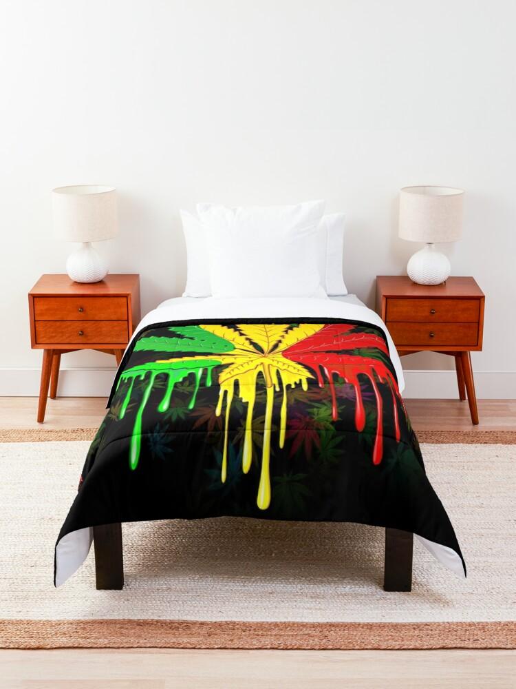 Alternate view of Marijuana Leaf Rasta Colors Dripping Paint Comforter