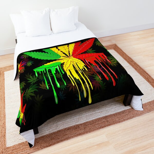 Marijuana Leaf Rasta Colors Dripping Paint Comforter