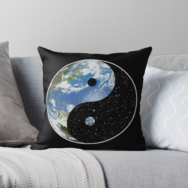 Earth and Space Yin Yang Symbol Throw Pillow