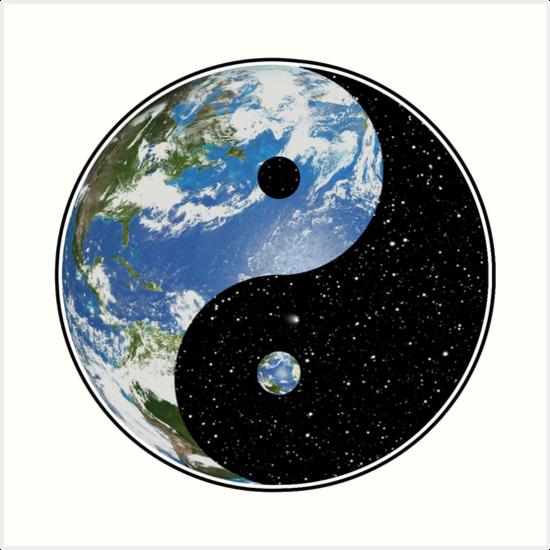 """earth and space yin yang symbol"" art printdarthpaul"
