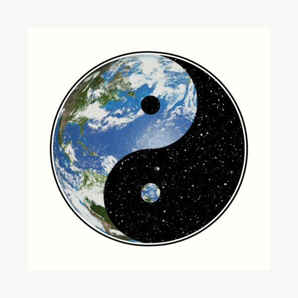 Earth and Space Yin Yang Symbol Art Print