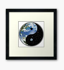 Earth and Space Yin Yang Symbol Framed Print