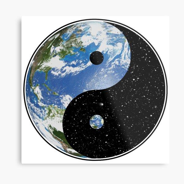 Earth and Space Yin Yang Symbol Metal Print