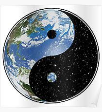 Earth and Space Yin Yang Symbol Poster