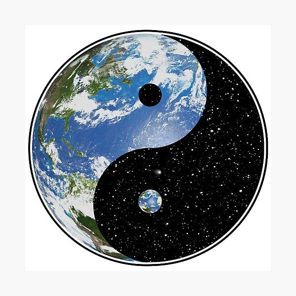 Símbolo de la tierra y el espacio Yin Yang Lámina fotográfica