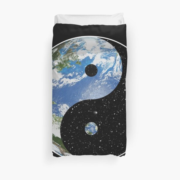 Earth and Space Yin Yang Symbol Duvet Cover