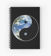 Earth and Space Yin Yang Symbol Spiral Notebook