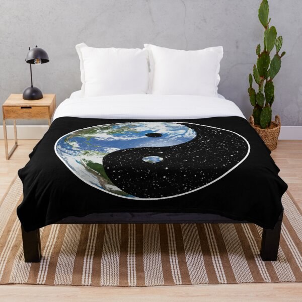 Earth and Space Yin Yang Symbol Throw Blanket