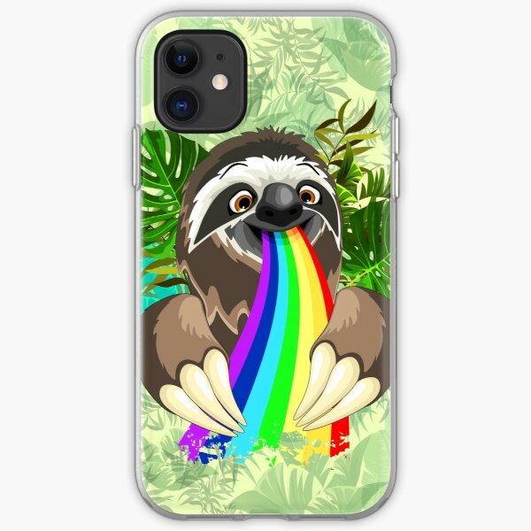 Sloth Spitting Rainbow Colors iPhone Soft Case