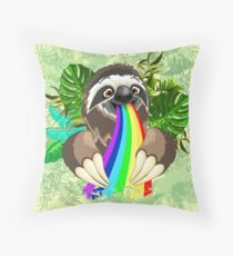 Sloth Spitting Rainbow Colors Throw Pillow