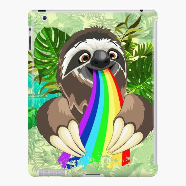 Sloth Spitting Rainbow Colors iPad Snap Case