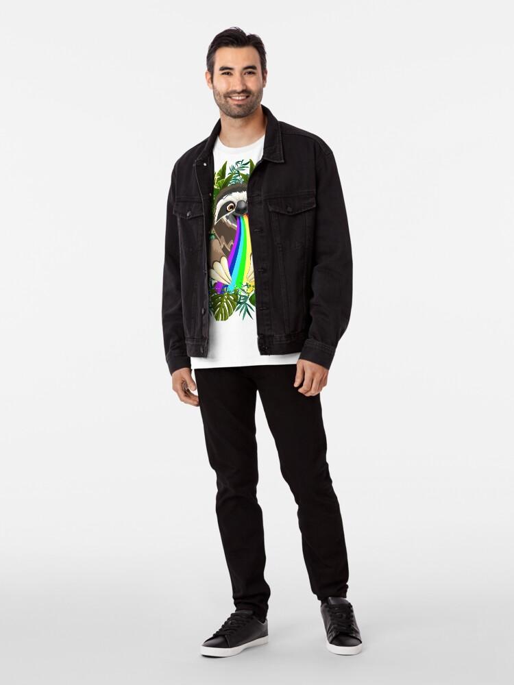 Alternate view of Sloth Spitting Rainbow Colors Premium T-Shirt