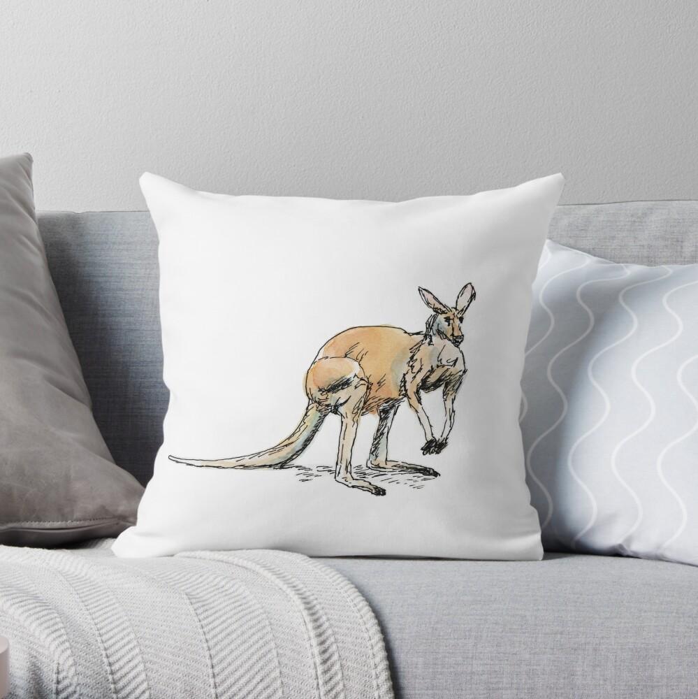 Kangaroo-in-waiting Throw Pillow