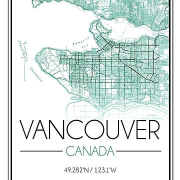 Vancouver, BC City Map- Teal by emmakoehle