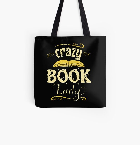 crazy book lady All Over Print Tote Bag