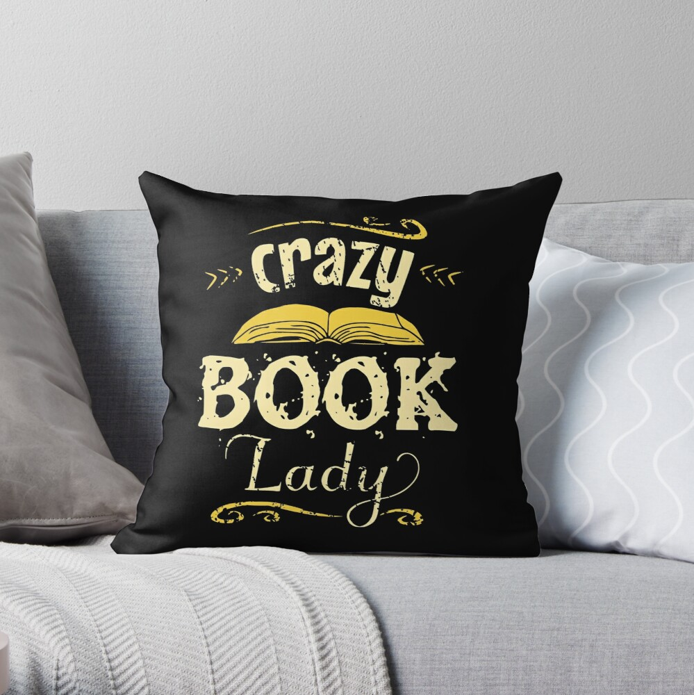crazy book lady Throw Pillow
