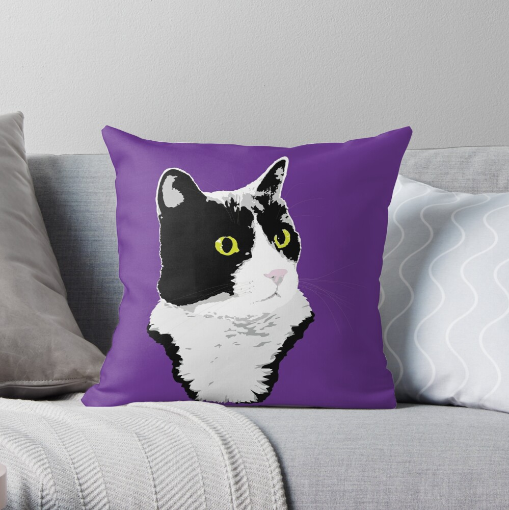 Regal Tuxedo Kitty Throw Pillow