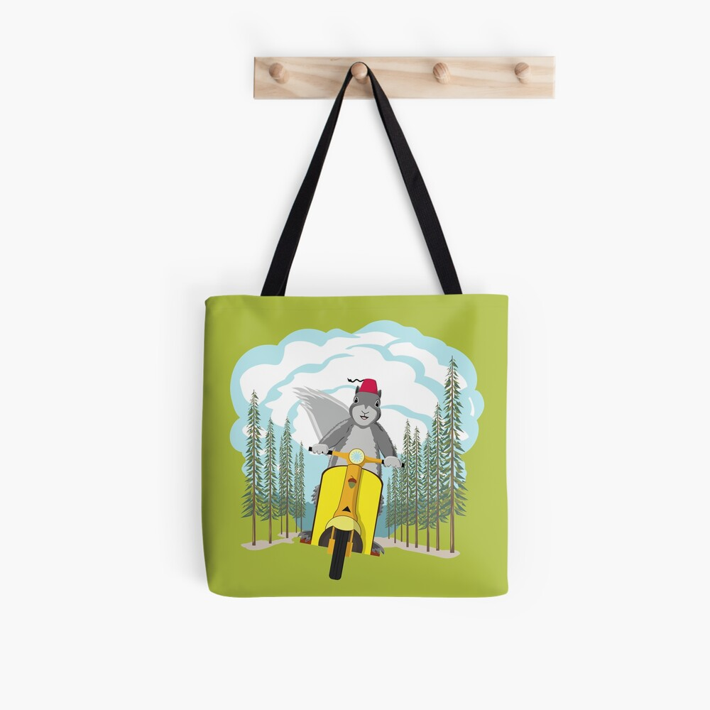 Squirrel on a Scooter Tote Bag