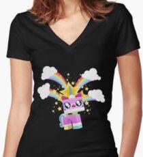 Princess Unikitty YAY! Women's Fitted V-Neck T-Shirt