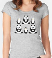 PANDAS & PENGUINS Women's Fitted Scoop T-Shirt