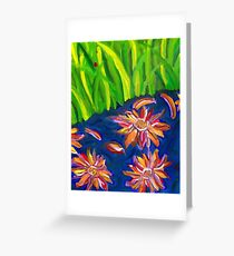 Flowers Float by Ladybug Grass Greeting Card