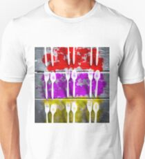 fork and spoon with splash painting texture abstract background in pink red yellow T-Shirt