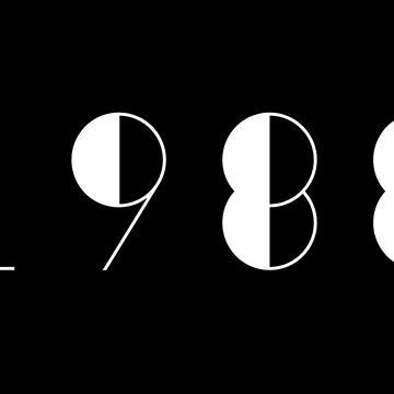 Born in 1988 Vintage Text Numbers Birthday Birthdate  by Birthdates