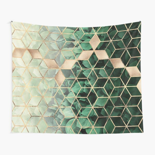 Leaves And Cubes Tapestry