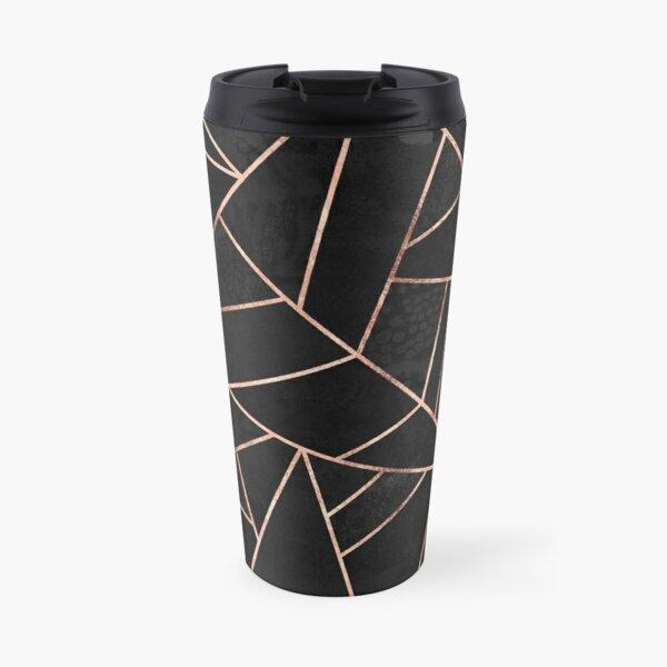 Velvet Black And Rose Gold Travel Mug