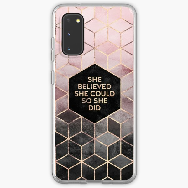 She Believed She Could - Pink Grey Samsung Galaxy Soft Case