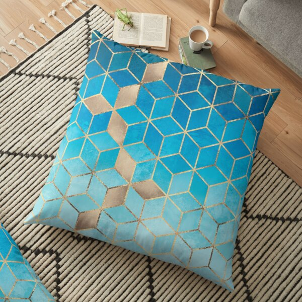 Sea And Sky Cubes Floor Pillow
