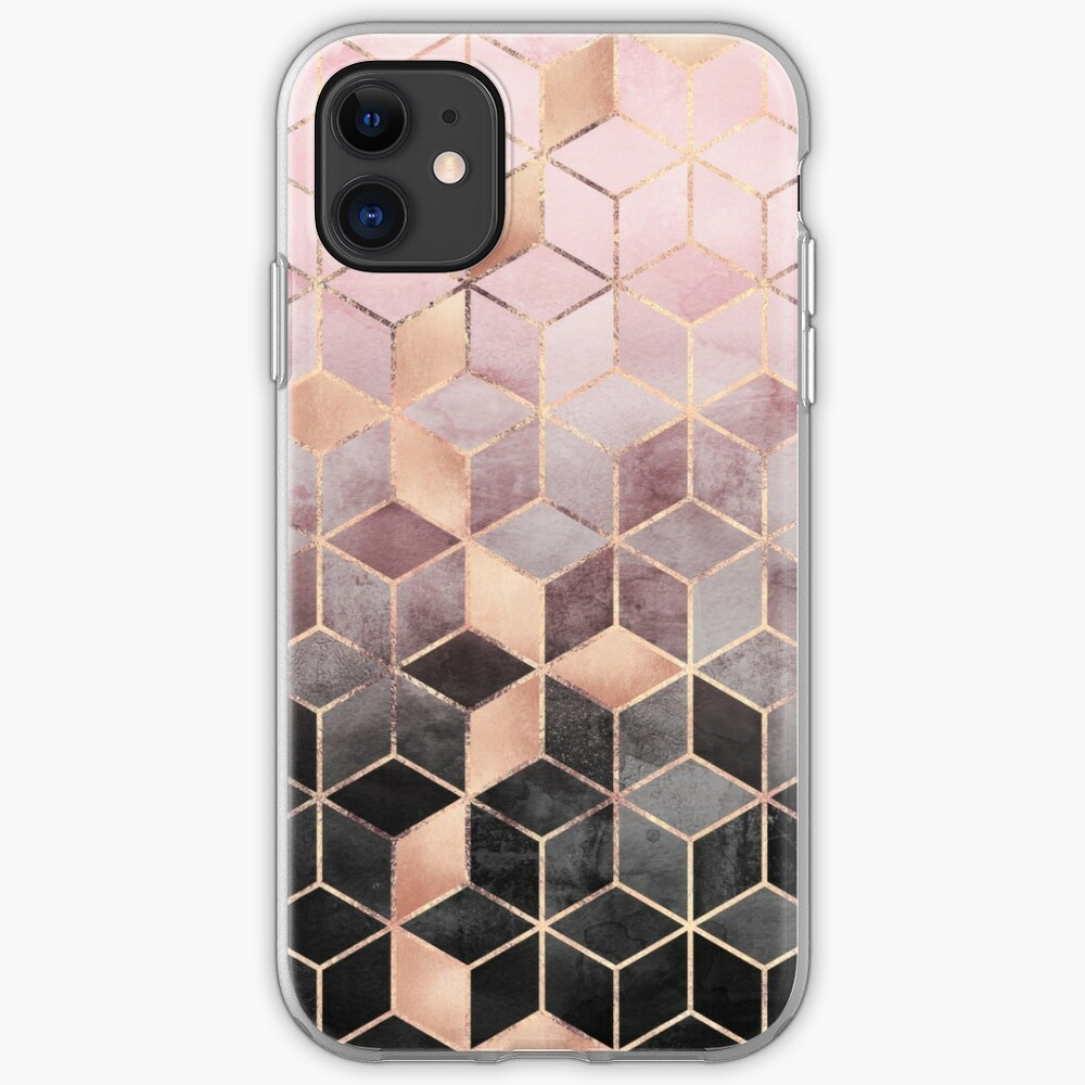 Pink And Grey Gradient Cubes iPhone Case & Cover