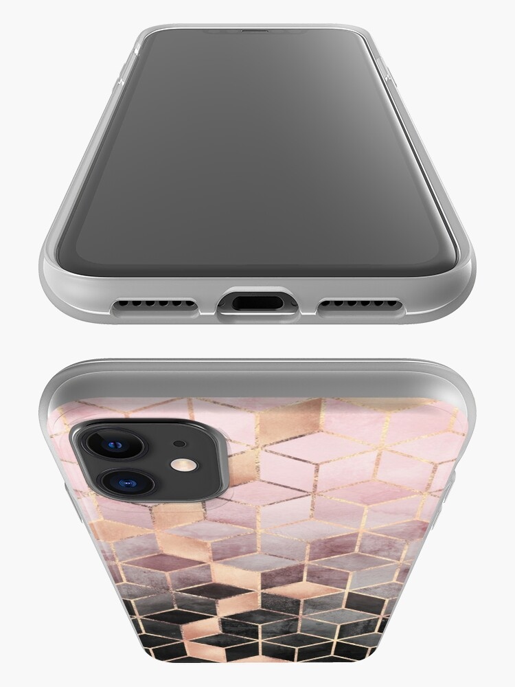 Alternate view of Pink And Grey Gradient Cubes iPhone Case & Cover