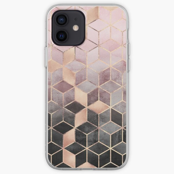 Pink And Grey Gradient Cubes iPhone Soft Case